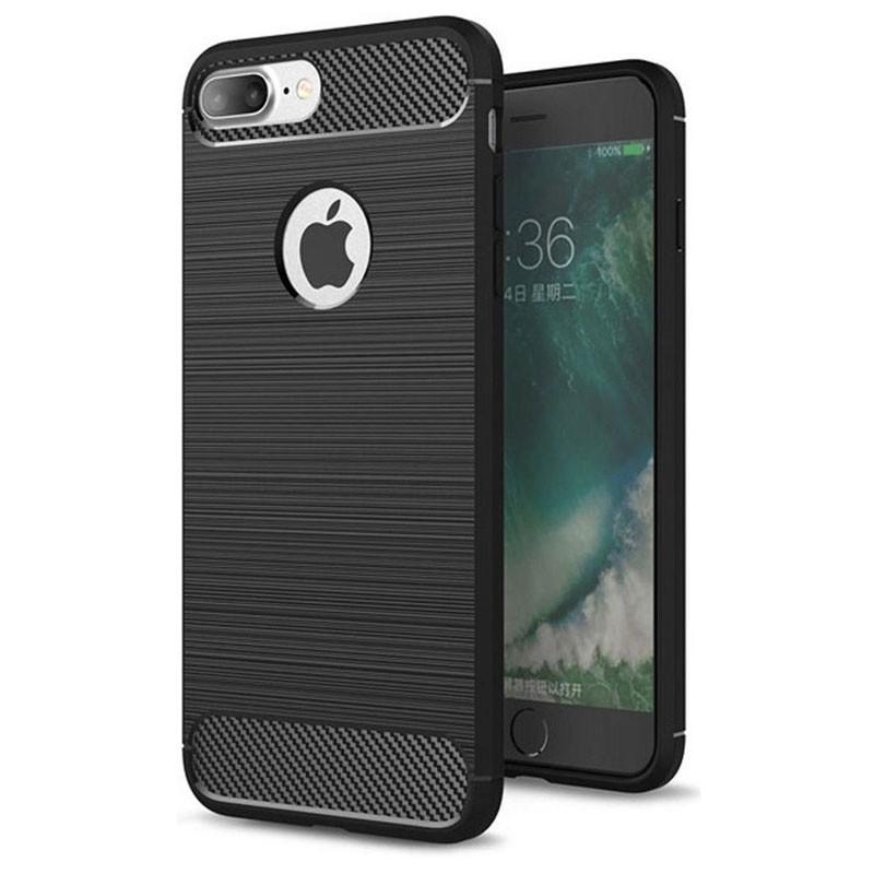 Mobiq - Hybrid Carbon iPhone 8 Plus / 7 Plus Hoesje Zwart - 1