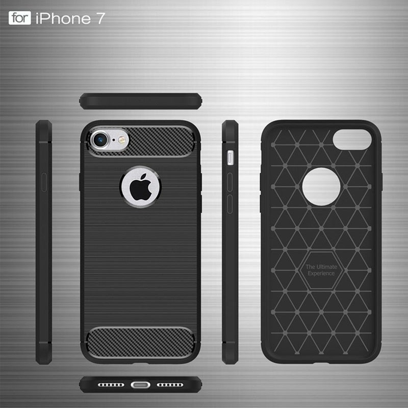 Mobiq - Hybrid Carbon iPhone 8 Plus / 7 Plus Hoesje Grijs - 7