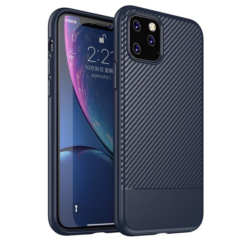 Mobiq - Zakelijk Carbon Hoesje iPhone 11 Blauw - 1