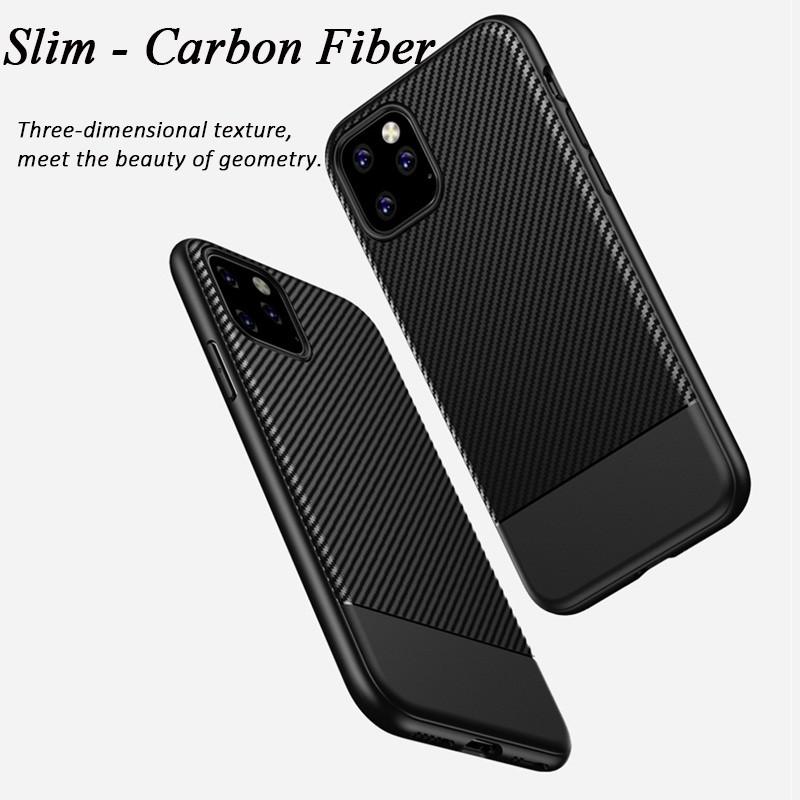 Mobiq - Zakelijk Carbon Hoesje iPhone 11 Pro Max Rood - 6