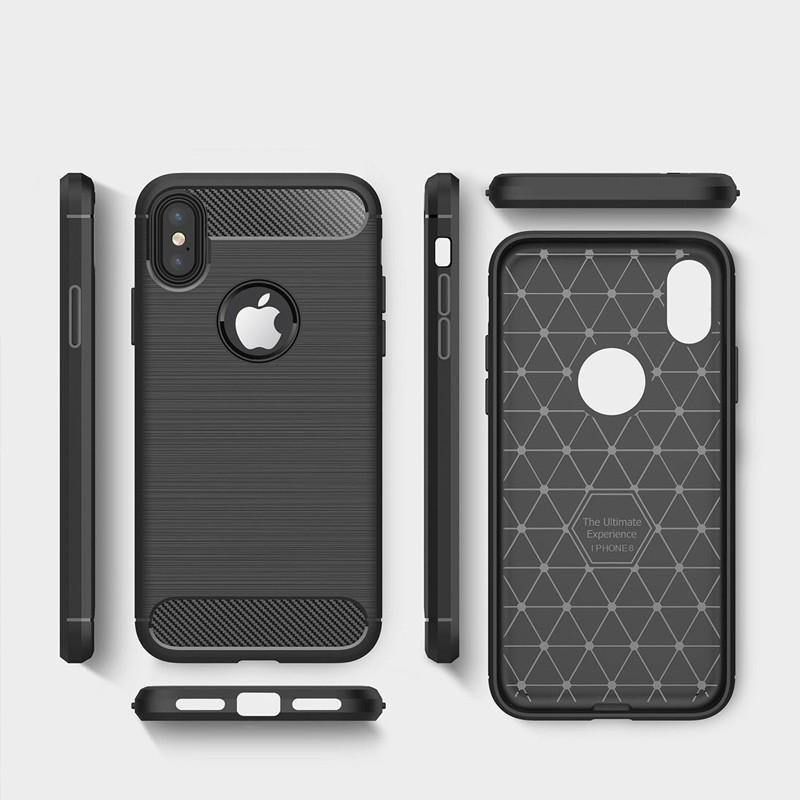 Mobiq - Hybrid Carbon TPU iPhone X/Xs Hoesje zwart 06