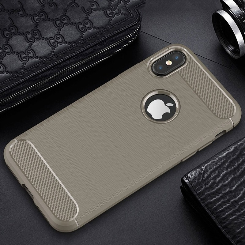 Mobiq - Hybrid Carbon TPU iPhone X/Xs Hoesje grijs 04