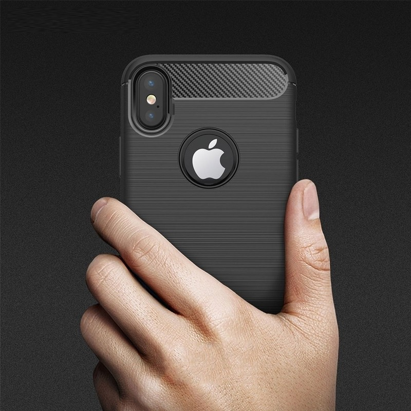Mobiq - Hybrid Carbon TPU iPhone X/Xs Hoesje grijs 06