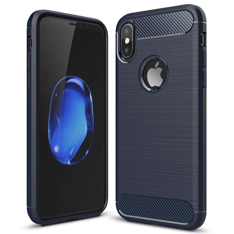 Mobiq - Hybrid Carbon TPU iPhone X/Xs Hoesje blauw 01