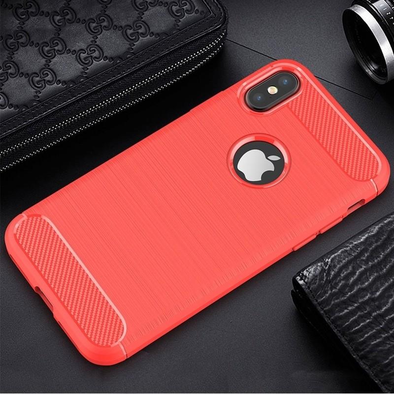 Mobiq - Hybrid Carbon TPU iPhone X/Xs Hoesje rood 04
