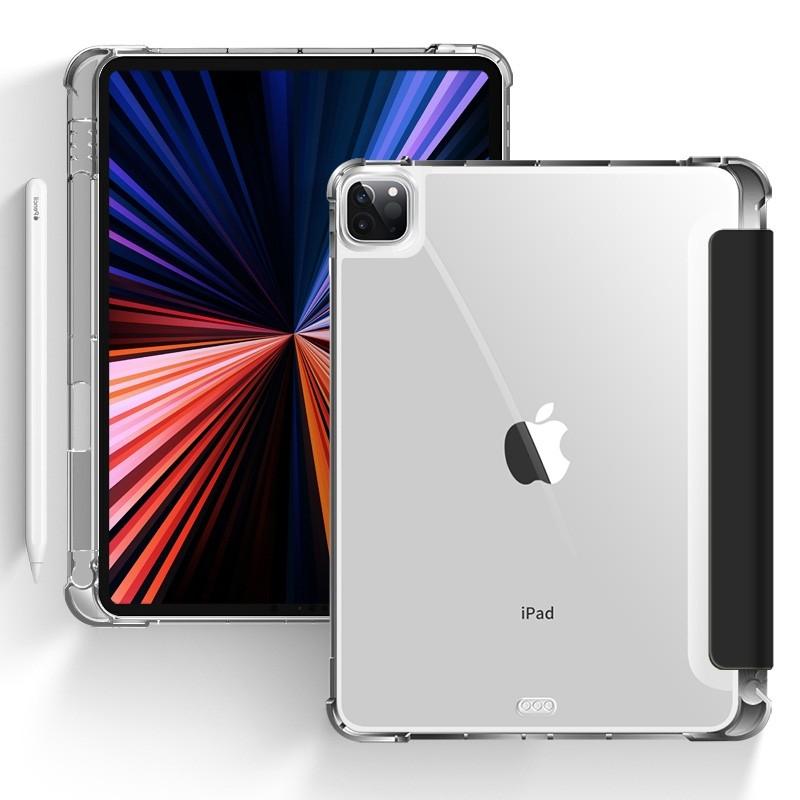 Mobiq - Transparante Trifold iPad Pro 11 inch (2021) Hoes Zwart - 1