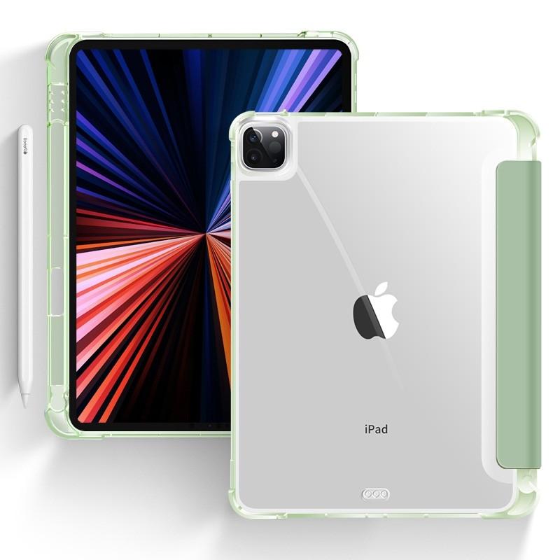 Mobiq - Transparante Trifold iPad Pro 12.9 inch (2021) Hoes Lichtgroen - 1