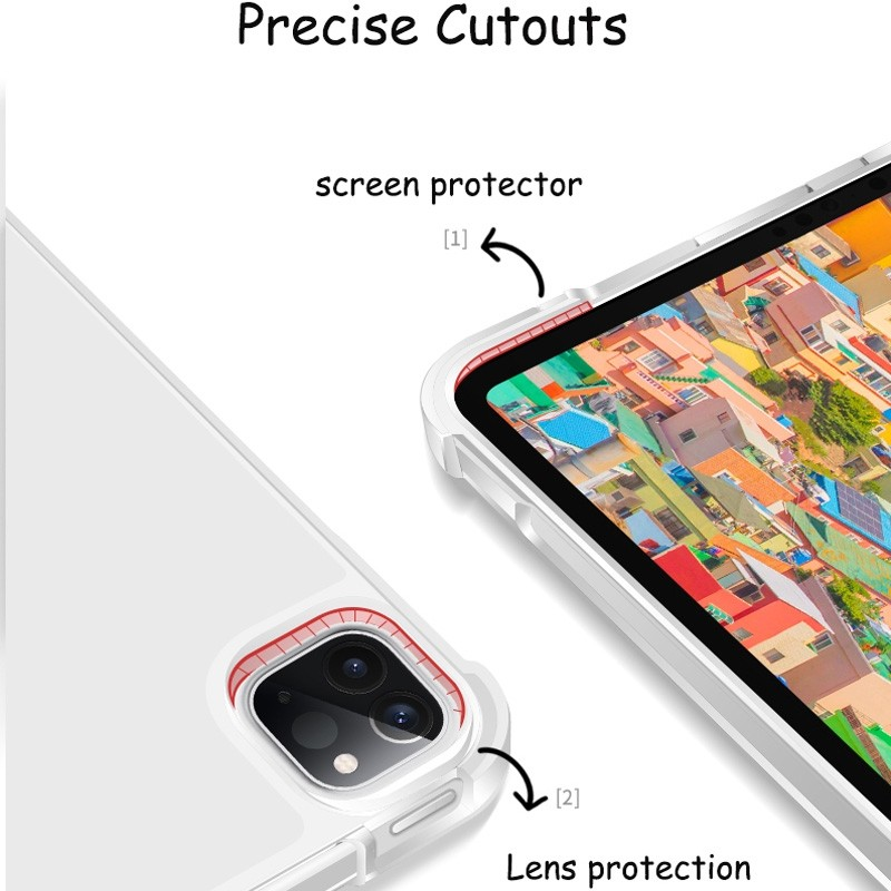 Mobiq - Transparante Trifold iPad Pro 12.9 inch (2021) Hoes Lichtblauw - 6