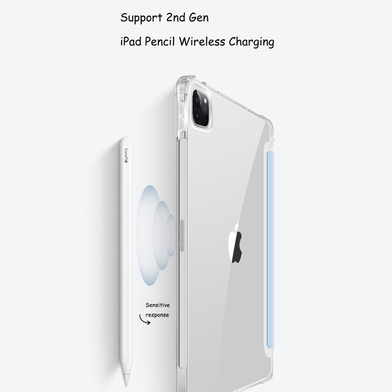 Mobiq - Transparante Trifold iPad Pro 12.9 inch (2021) Hoes Lichtgroen - 2