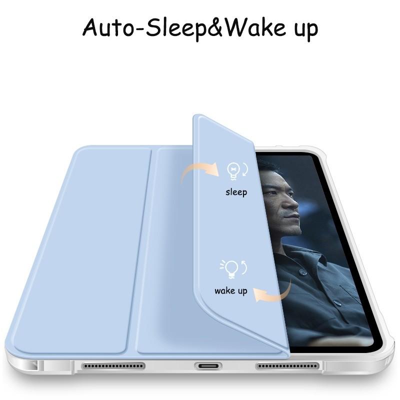 Mobiq - Transparante Trifold iPad Pro 12.9 inch (2021) Hoes Lichtblauw - 2