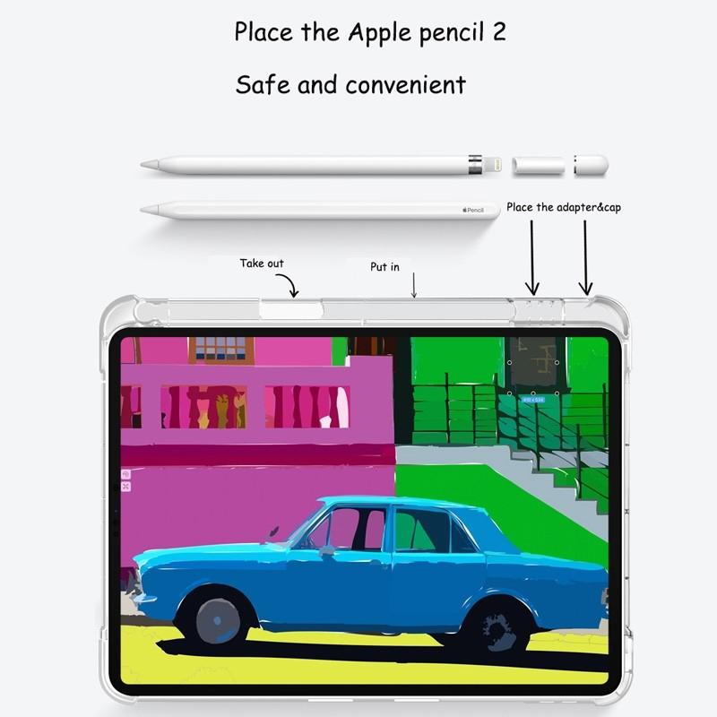 Mobiq - Transparante Trifold iPad Pro 12.9 inch (2021) Hoes Lichtgroen - 4