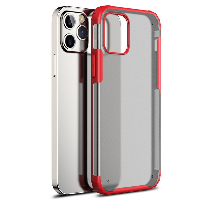 Mobiq Clear Hybrid Case iPhone 12 / 12 Pro 6.1 Rood - 1