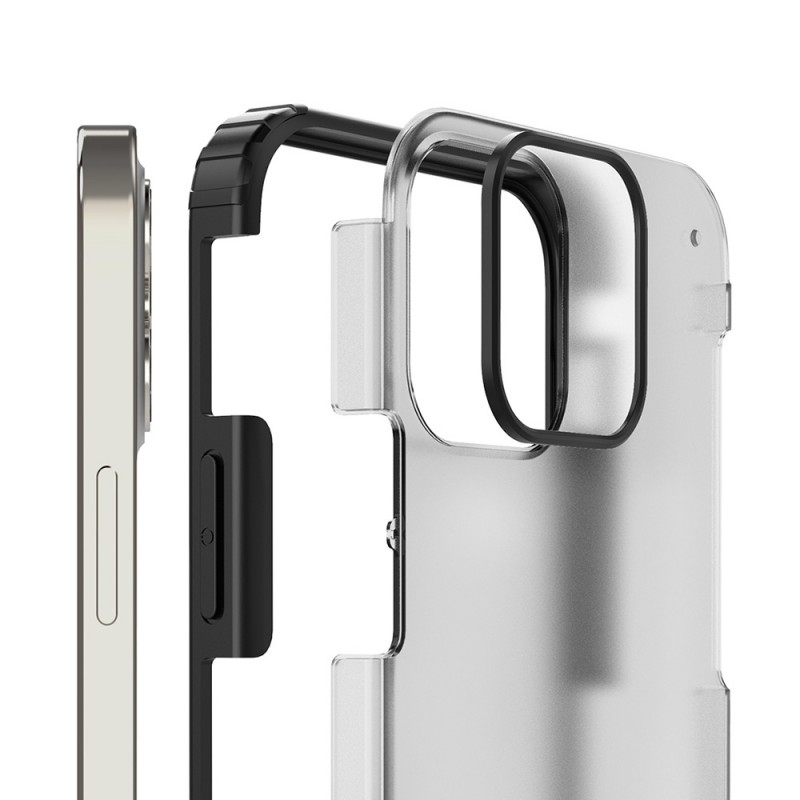 Mobiq Clear Hybrid Case iPhone 12 Pro Max Zwart - 3