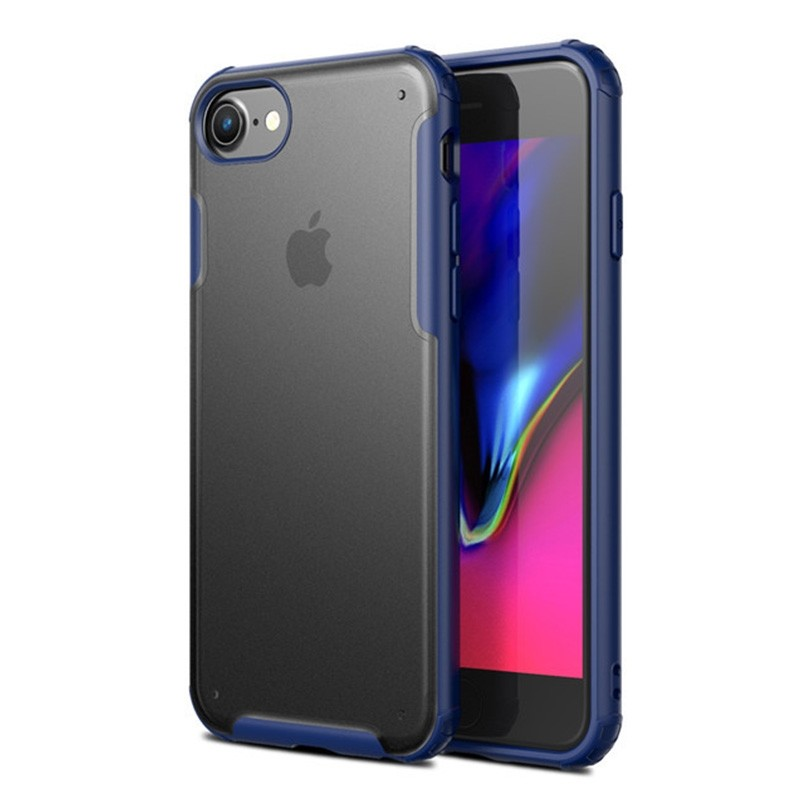 Mobiq Clear Hybrid Case iPhone 8/7 Blauw - 1