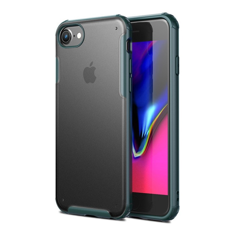 Mobiq Clear Hybrid Case iPhone 8/7 Groen - 1