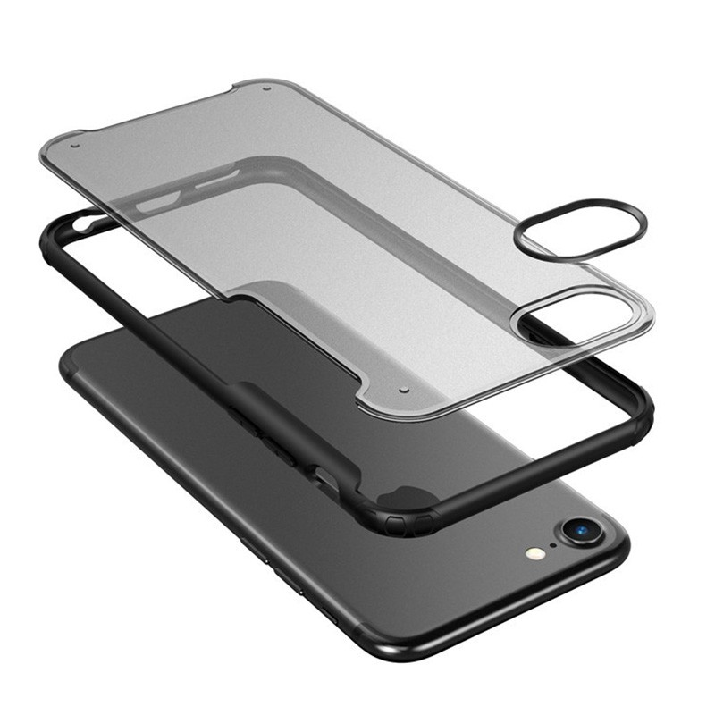Mobiq Clear Hybrid Case iPhone 8/7 Zwart - 3