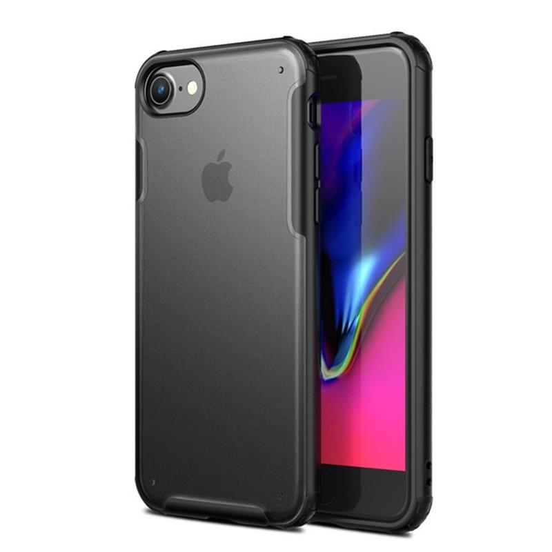 Mobiq Clear Hybrid Case iPhone 8/7 Zwart - 1