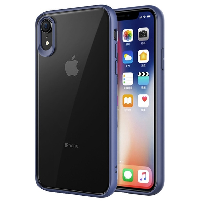 Mobiq Clear Rugged Case iPhone XR Blauw Transparant 01