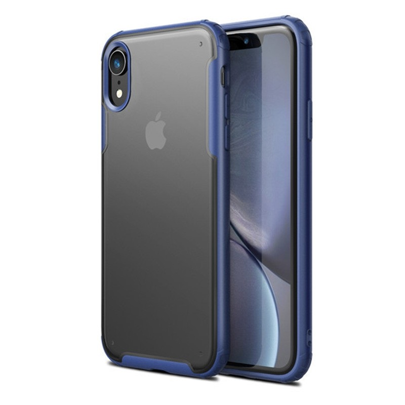 Mobiq - Clear Hybrid Case iPhone XR Blauw - 1