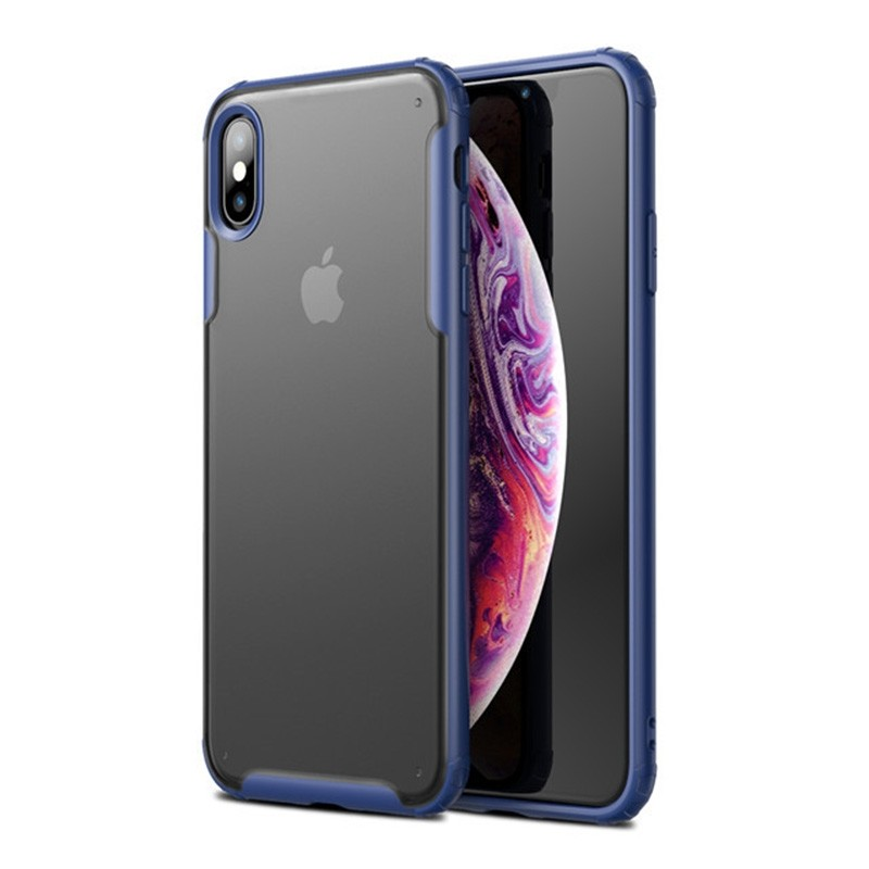 Mobiq - Clear Hybrid Case iPhone X/XS Blauw - 1