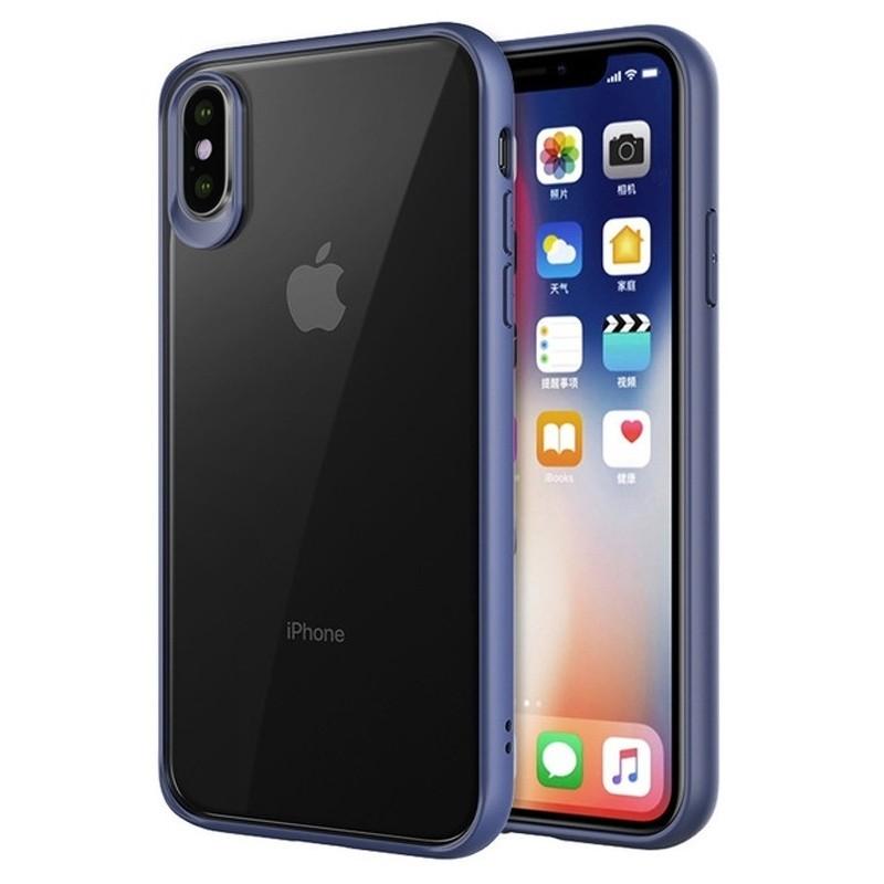 Mobiq Clear Hybrid Case iPhone XS Max Blauw 01