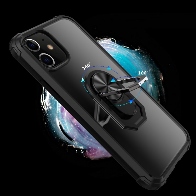 Mobiq Clear Hybrid Ring Case iPhone 12 Pro Max Zwart - 4