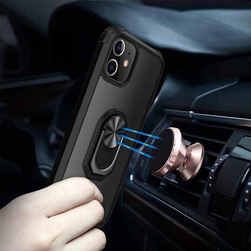 Mobiq Clear Hybrid Ring Case iPhone 12 Pro Max Zwart - 6