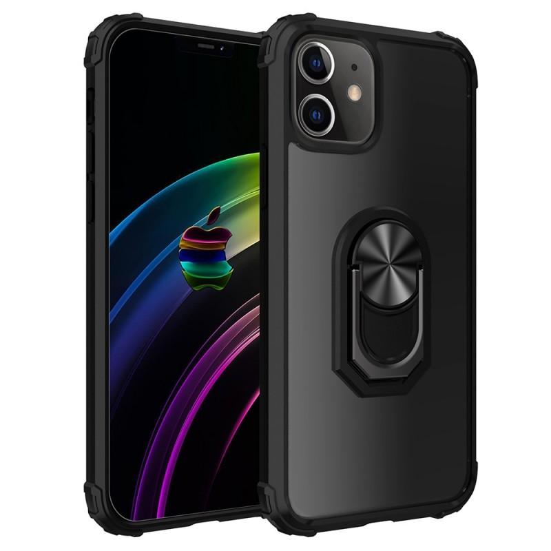 Mobiq Clear Hybrid Ring Case iPhone 12 Pro Max Zwart - 1