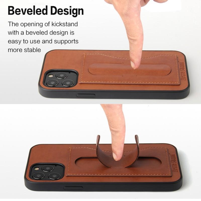 Mobiq Leather Click Stand Case iPhone 12 6.1 Bruin - 4