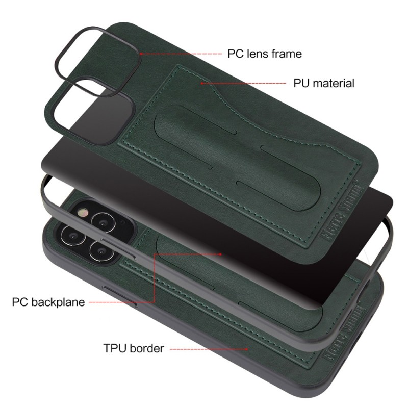 Mobiq Leather Click Stand Case iPhone 12 6.1 Groen - 2