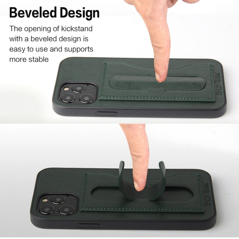 Mobiq Leather Click Stand Case iPhone 12 6.1 Groen - 4