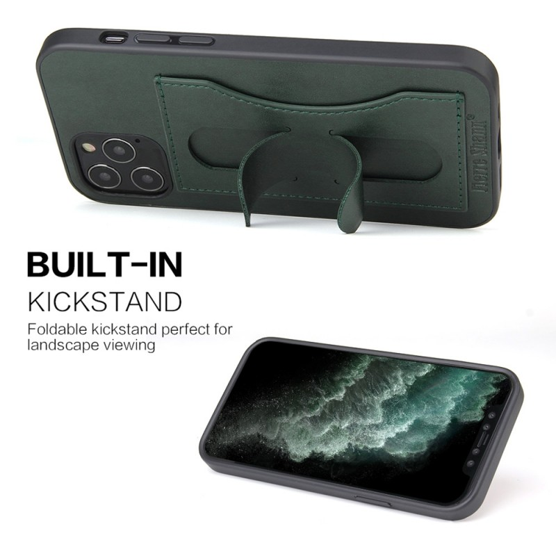 Mobiq Leather Click Stand Case iPhone 12 6.1 Groen - 5