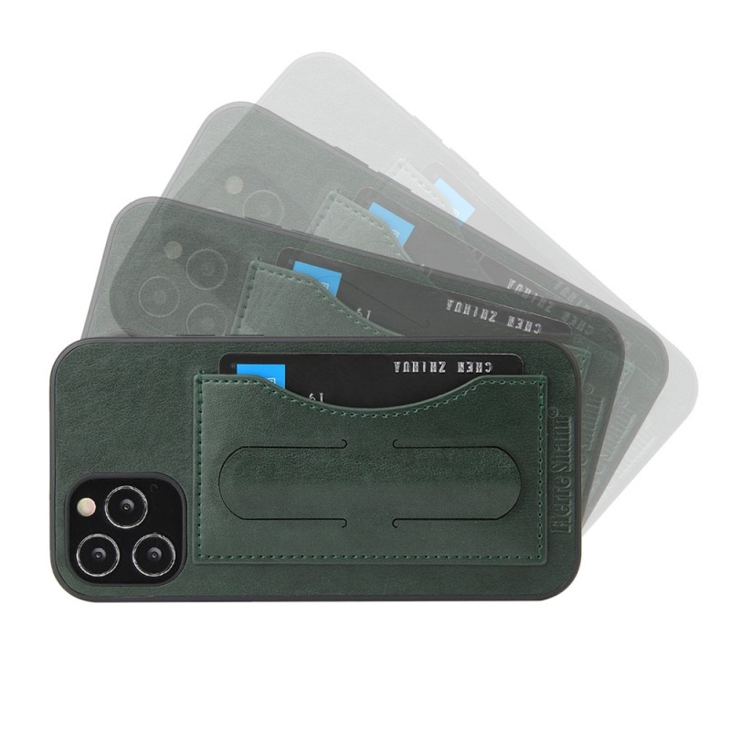 Mobiq Leather Click Stand Case iPhone 12 6.1 Groen - 6