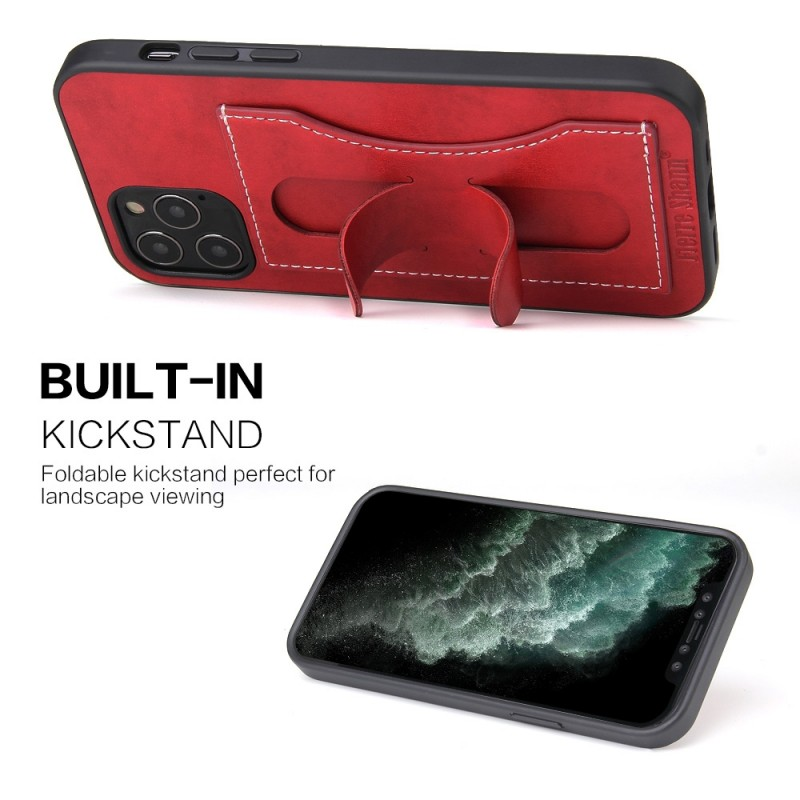 Mobiq Leather Click Stand Case iPhone 12 6.1 Rood - 5