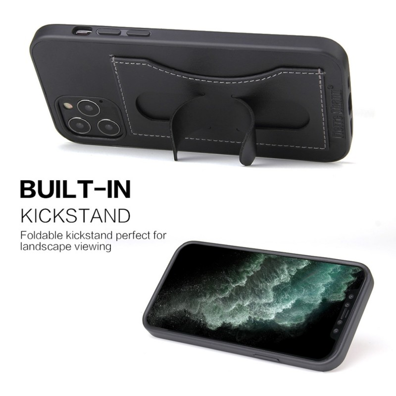 Mobiq Leather Click Stand Case iPhone 12 6.1 Zwart - 6