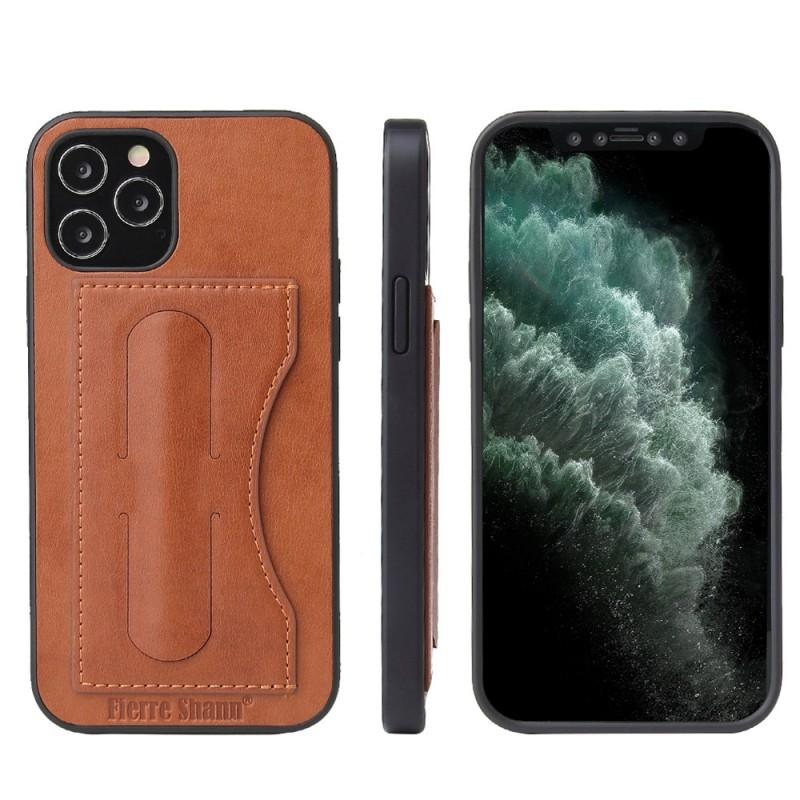 Mobiq Leather Click Stand Case iPhone 12 Mini Bruin - 8