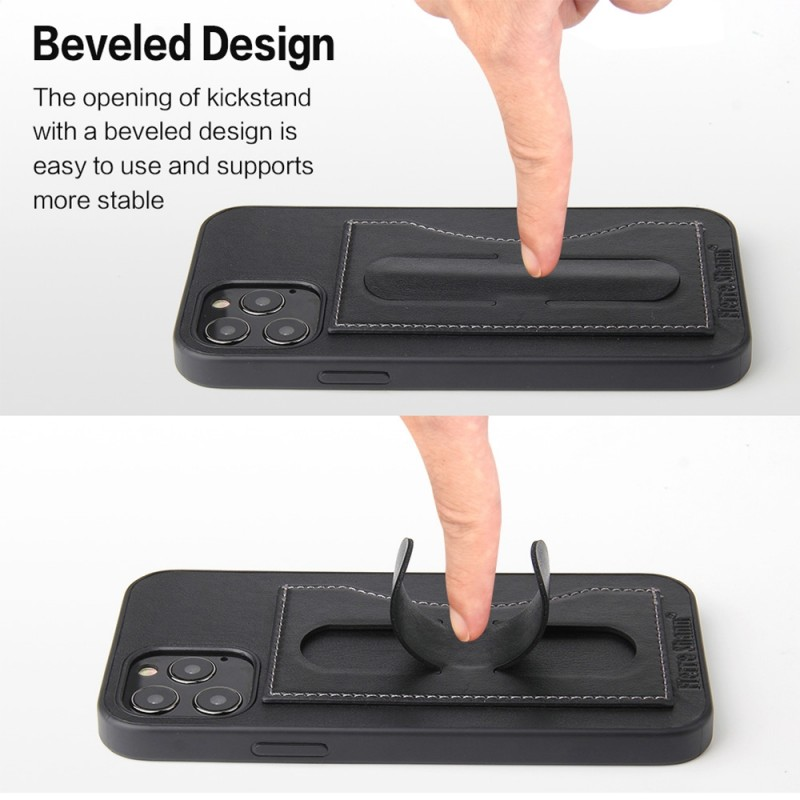 Mobiq Leather Click Stand Case iPhone 12 Pro Max Zwart - 4