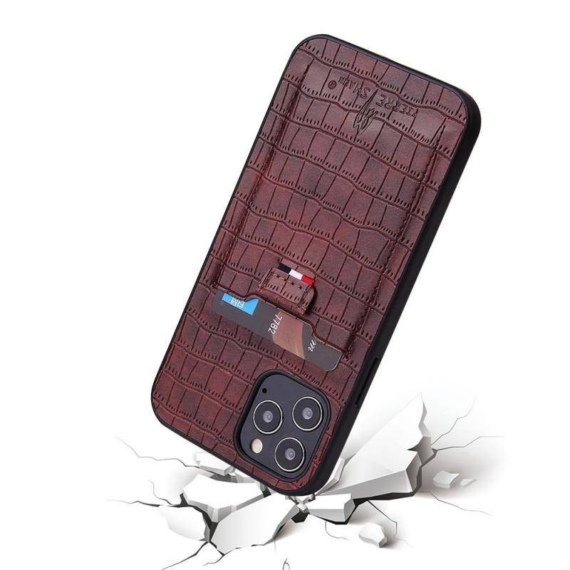 Mobiq Croco Wallet Back Cover iPhone 12 6.1 Bruin - 5