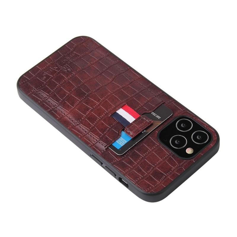 Mobiq Croco Wallet Back Cover iPhone 12 6.1 Bruin - 3