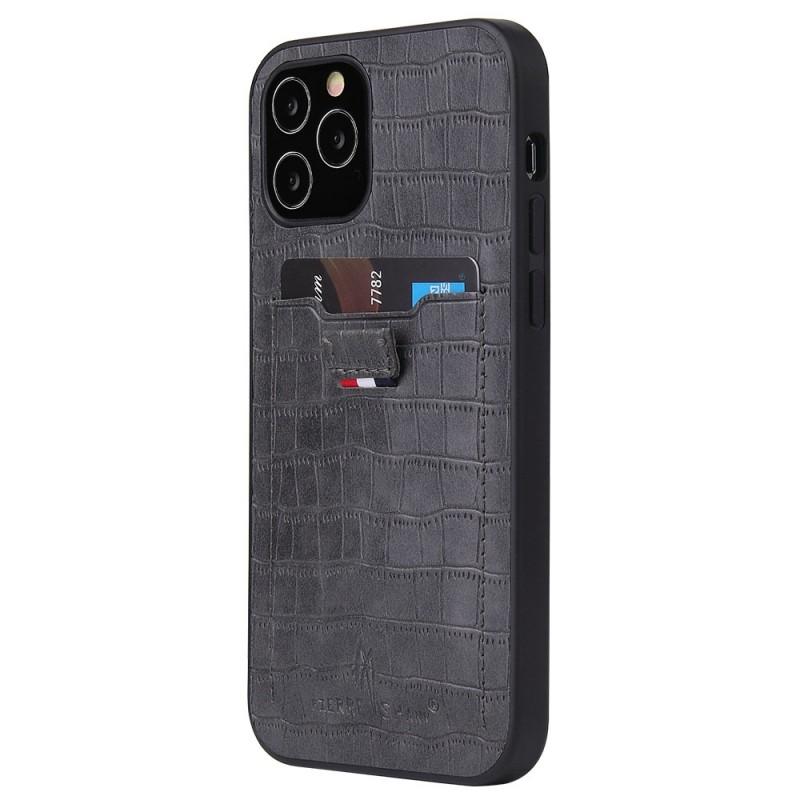 Mobiq Croco Wallet Back Cover iPhone 12 6.1 Grijs - 1
