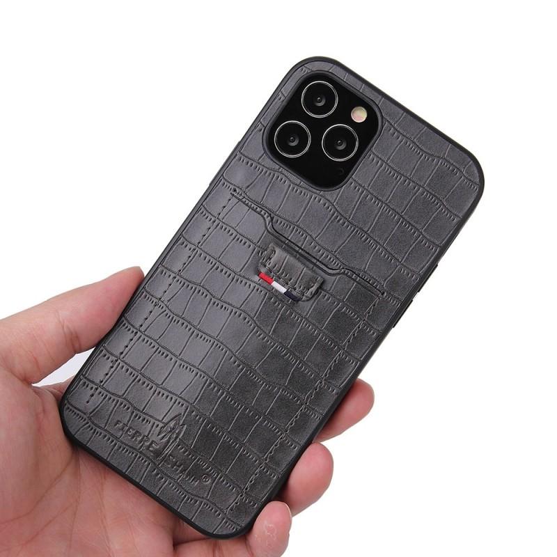 Mobiq Croco Wallet Back Cover iPhone 12 6.1 Grijs - 2
