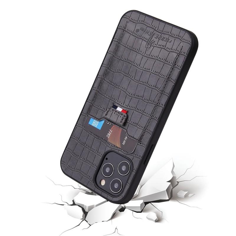 Mobiq Croco Wallet Back Cover iPhone 12 6.1 Grijs - 3
