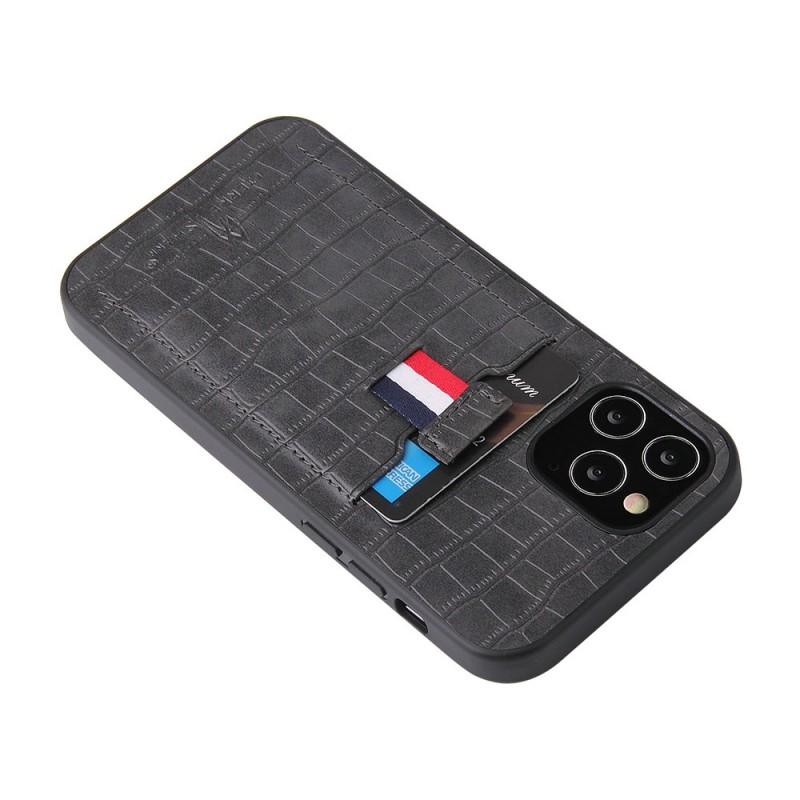 Mobiq Croco Wallet Back Cover iPhone 12 6.1 Grijs - 5