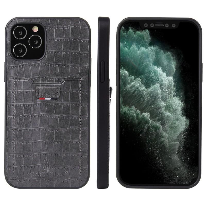 Mobiq Croco Wallet Back Cover iPhone 12 6.1 Grijs - 4
