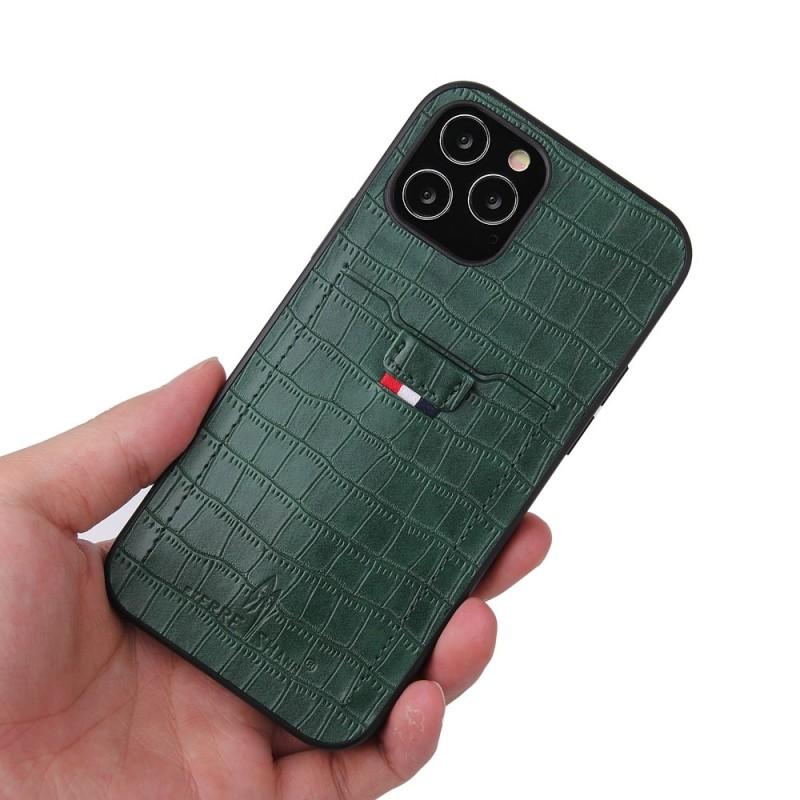Mobiq Croco Wallet Back Cover iPhone 12 6.1 Groen - 3