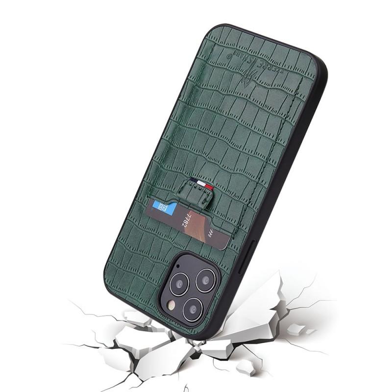 Mobiq Croco Wallet Back Cover iPhone 12 6.1 Groen - 2