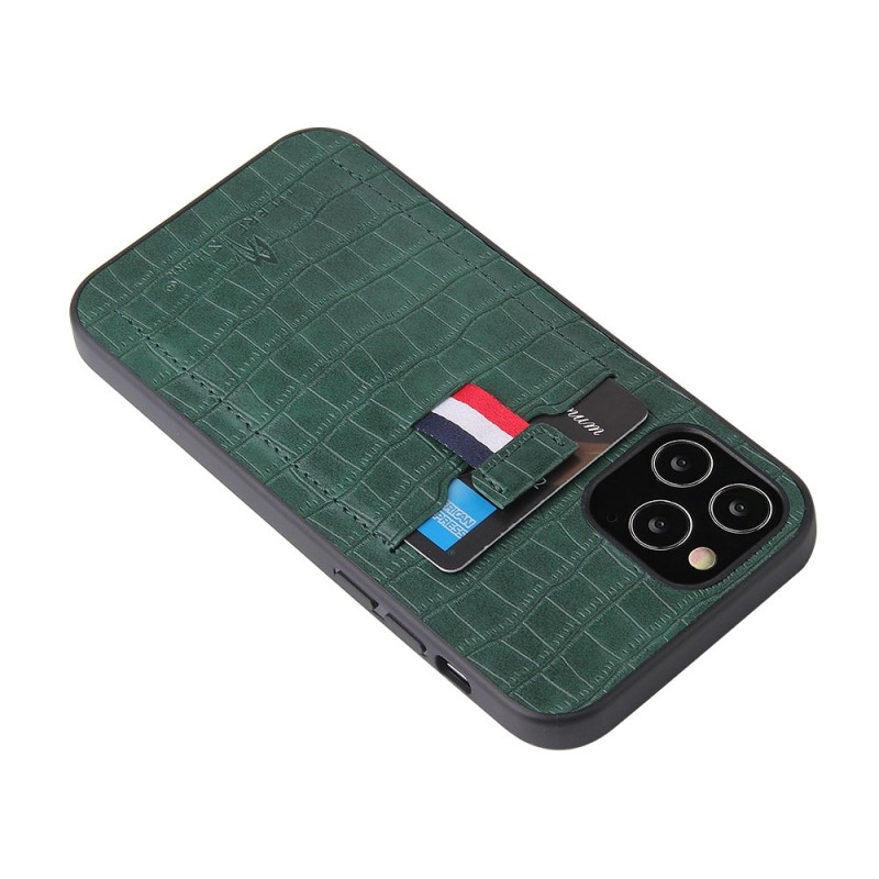 Mobiq Croco Wallet Back Cover iPhone 12 6.1 Groen - 5