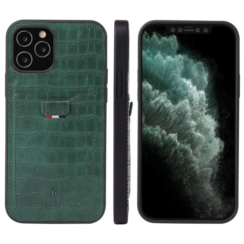 Mobiq Croco Wallet Back Cover iPhone 12 6.1 Groen - 4
