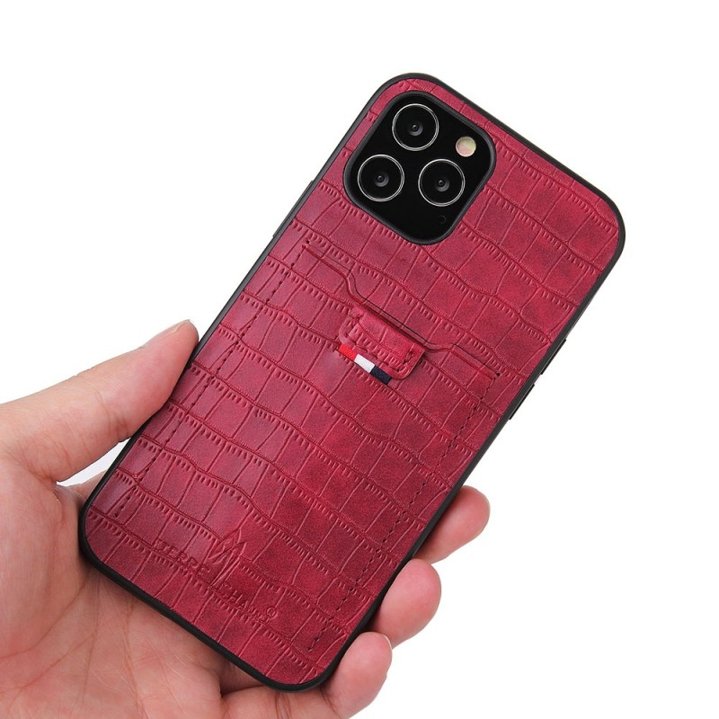 Mobiq Croco Wallet Back Cover iPhone 12 6.1 Rood - 5