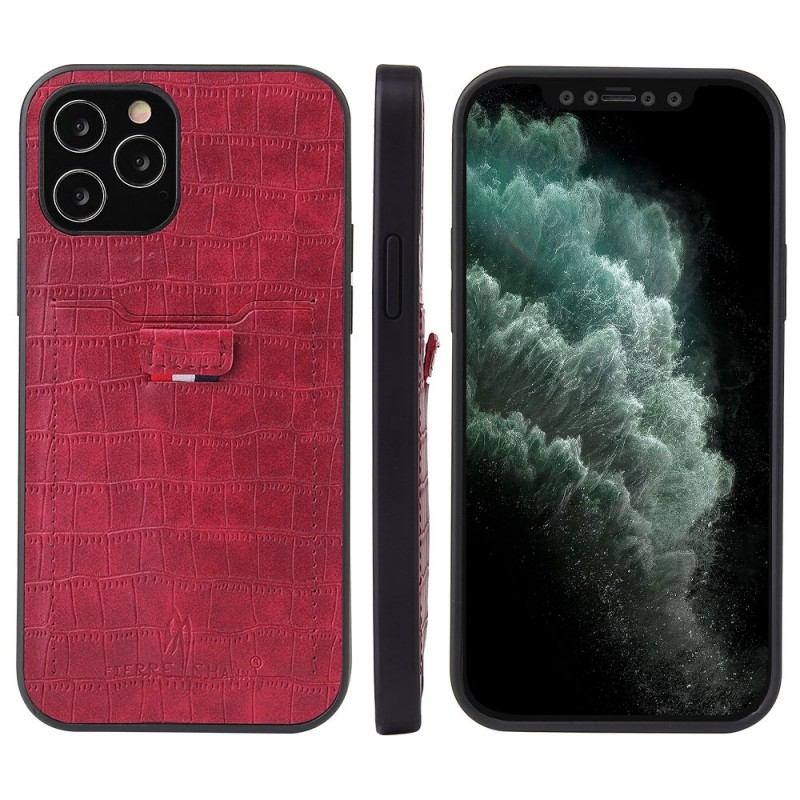 Mobiq Croco Wallet Back Cover iPhone 12 6.1 Rood - 4